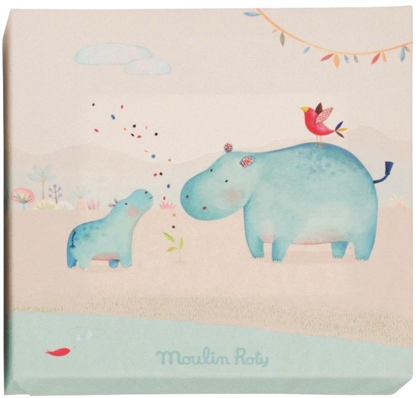 Moulin roty tableau hippopotame les papoum 22x22 cm - Tableau moulin roty ...