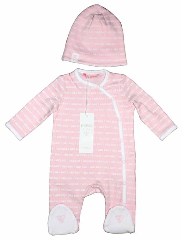 guess enfant pyjama et bonnet rose naissance. Black Bedroom Furniture Sets. Home Design Ideas